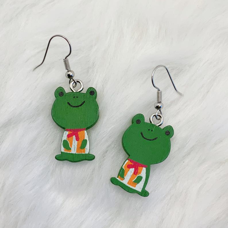 Frog Earrings Cottagecore Earrings Froggy Jewelry Etsy In 2020 Quirky Earrings Earrings Diy Crafts Necklaces