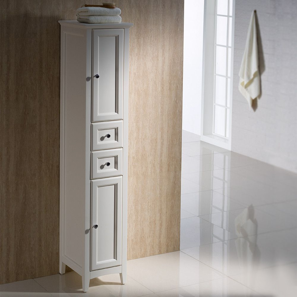 Fresca Oxford Antique White Tall Bathroom Linen Cabinet | Linen ...