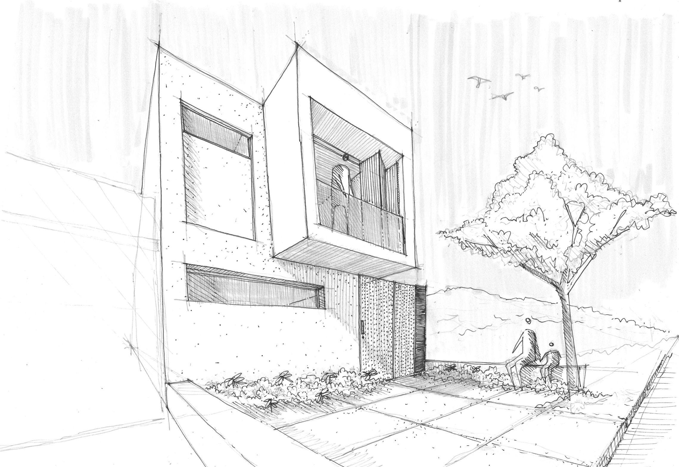 Sencilla casa de dos pisos con planos y dise o de for Casa habitacion minimalista