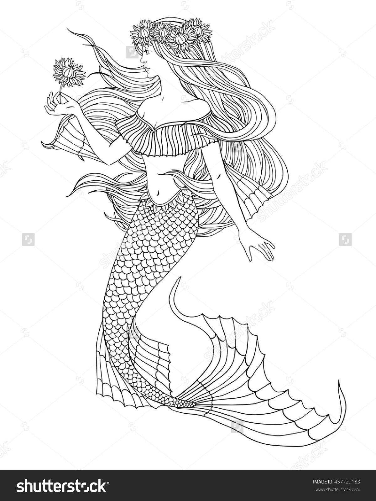 mermaid holding a flower illustration for coloring