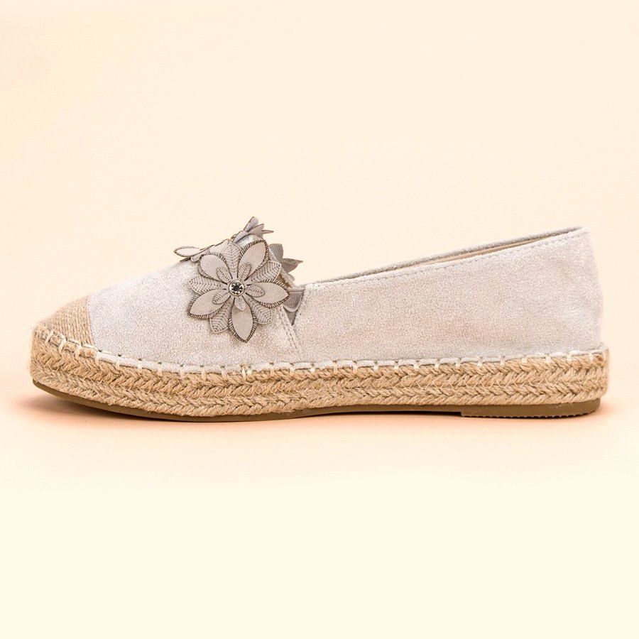 Espadryle Z Kwiatami Szare Flat Espadrille Espadrilles Shoes