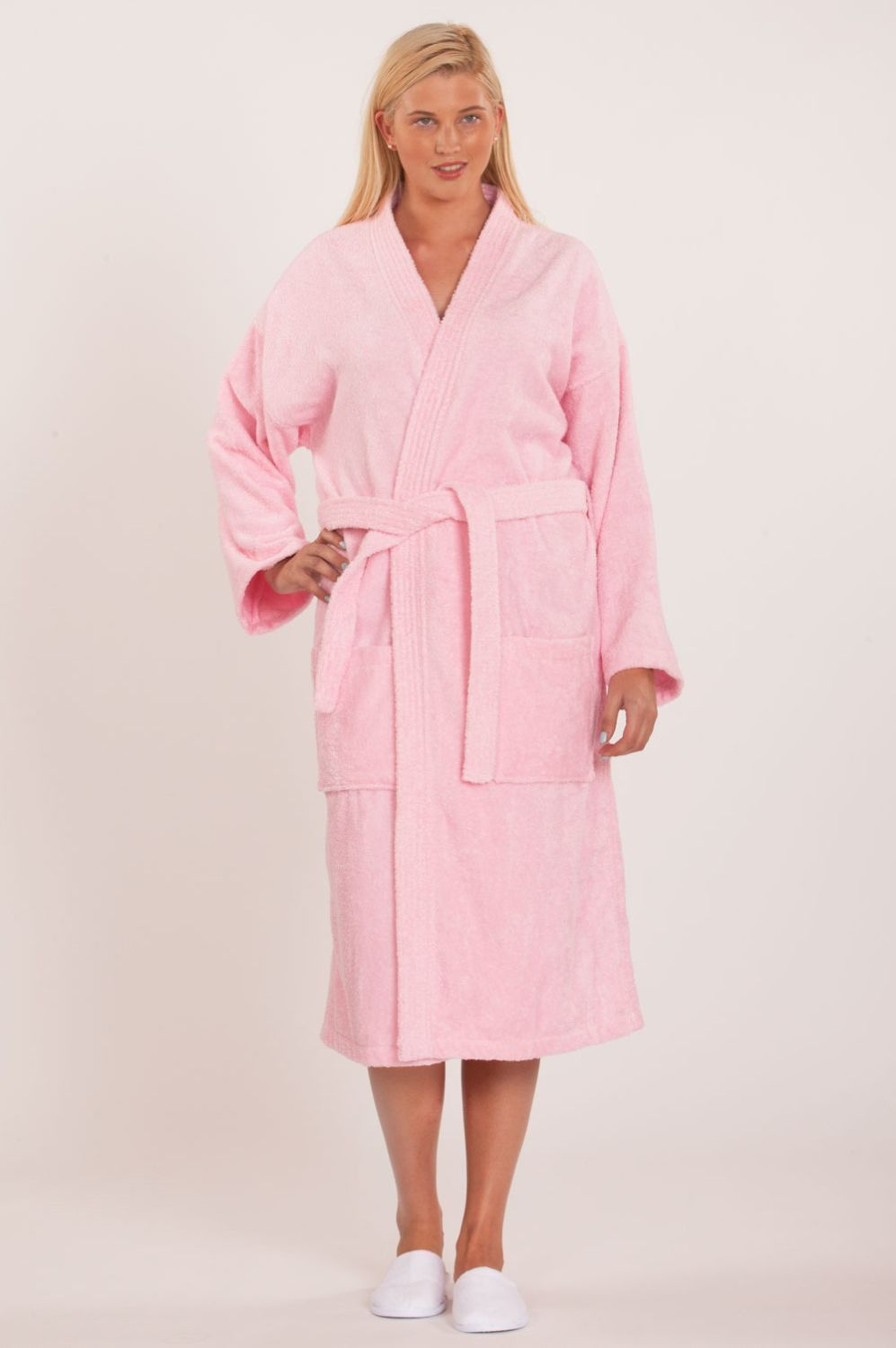 d306bedbeb 100% Turkish Cotton Adult Terry Kimono Robe - Pink - Adult - One Size