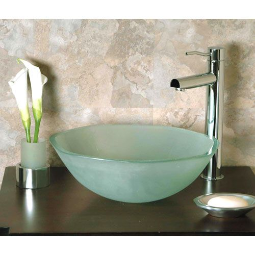 GS-104F Septagonal Frosted Glass Vessel Sink guest bathroom decor - Vessel Sinks Bathroom