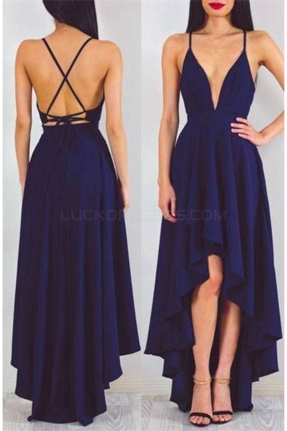 High low vneck spaghetti straps blue prom formal evening party