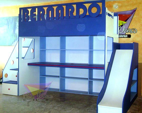 kidsworld.2000@yahoo.com.mx, tel 01 442 690 48 41, JUVENIL Y COLORIDA CAMA ALTA CON RESBALADILLA Y ESCALERA DE CAJONES, AMPLIO ESCRITORIO Y CON TANTAS REPISAS EN DONDE GUARDAR, LIBROS, JUGUETES, TROFEOS, FOTOS ETC, BARANDAL PERSONALIZADO... PREGUNTA POR MAS MODELOS, FABRICAMOS CAMAS Y LITERAS A LA ALTURA DE TUS MAS GRANDES IDEAS..