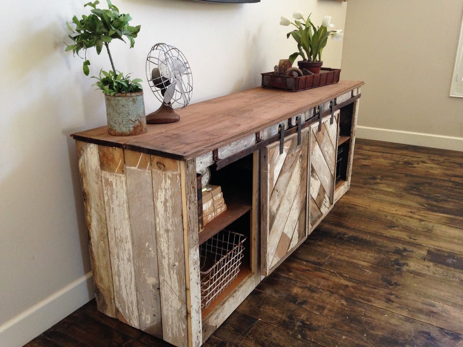 rustic distressed barn door sliding console furniture Could be a ...