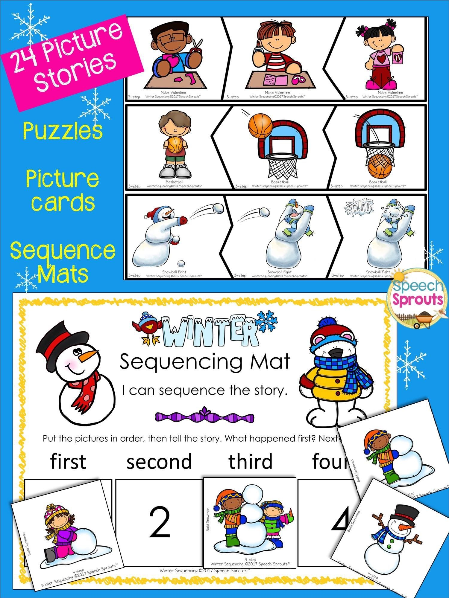 Winter Sequencing Activities With Story Retell Amp Writing