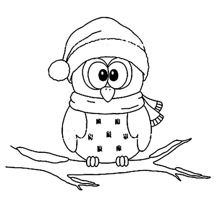 D7b19f022a3c8f4fc677c075b35a9334 Jpg 736 671 Owl Coloring Pages Christmas Coloring Pages Christmas Owls
