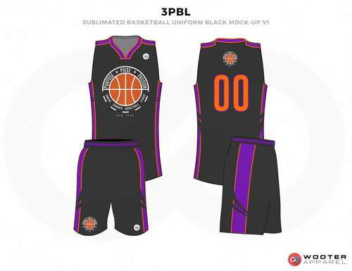 28571d5a325 3PBL Black Orange and Purple Basketball Uniforms