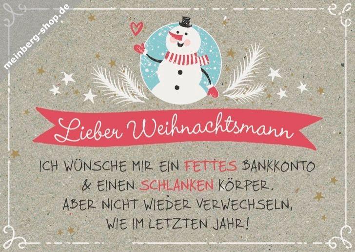 Lieber Weihnachtsmann, ich wünsche mir ein fettes Bankkonto & einen ...