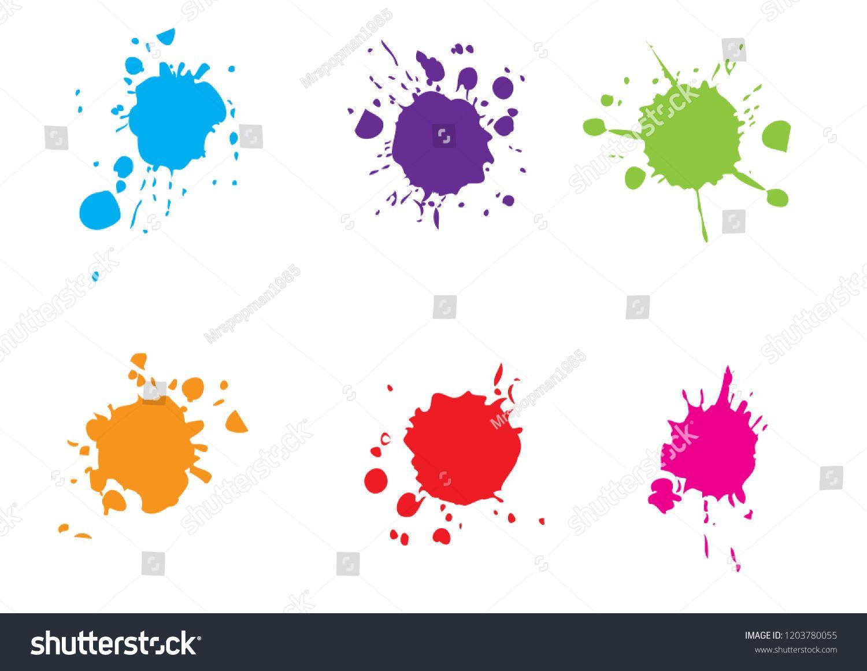 vector splatter color paint   paint splashes set vector illustration