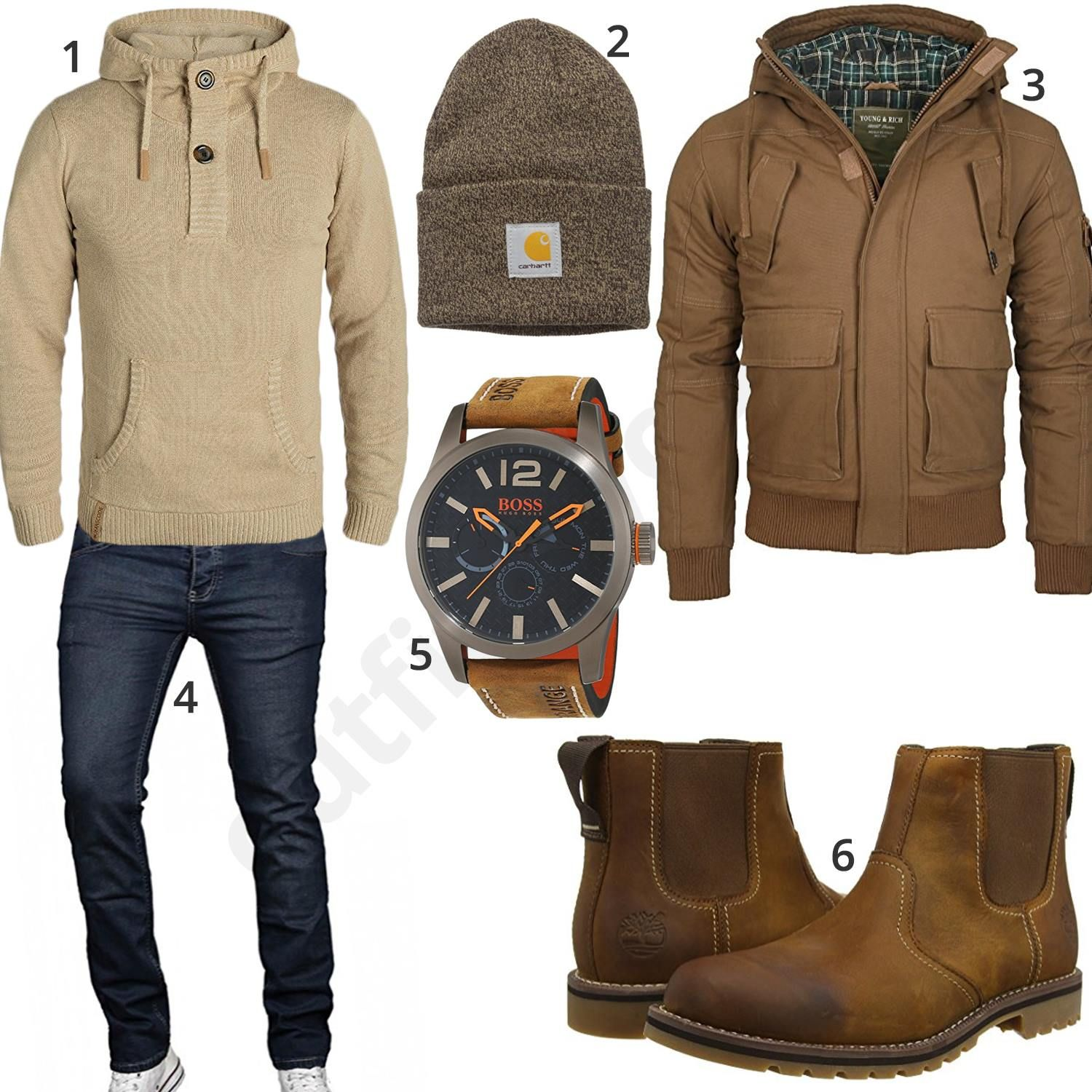 warmes winter outfit f r herren mit beigem indicode pullover carhartt m tze young rich jacke. Black Bedroom Furniture Sets. Home Design Ideas