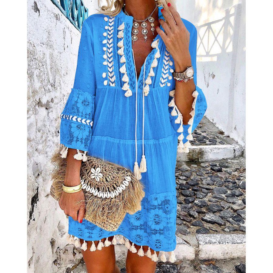 Casual 3 4 Sleeve V Neck Holiday Boho Dresses Mini Dress Realyiyi Com In 2021 Midi Dress Sleeveless Casual Fashion [ 900 x 900 Pixel ]