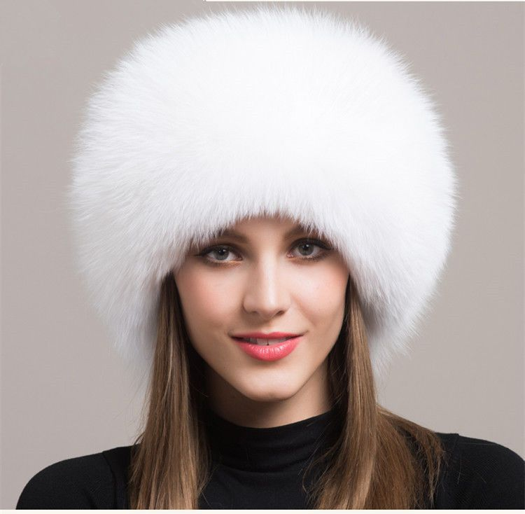 8a7ef319a67 Women Real White Fox Fur Hat Russian Winter Warmer Ear Cap Ushanka Cossack  Ski