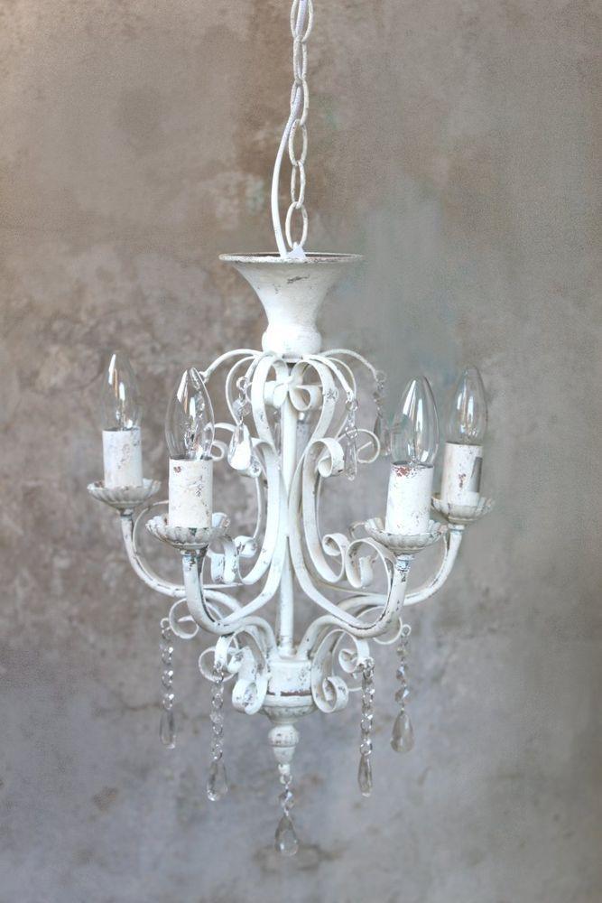 Kronleuchter Lüster Lampe weiß antik Vintage Landhaus shabby