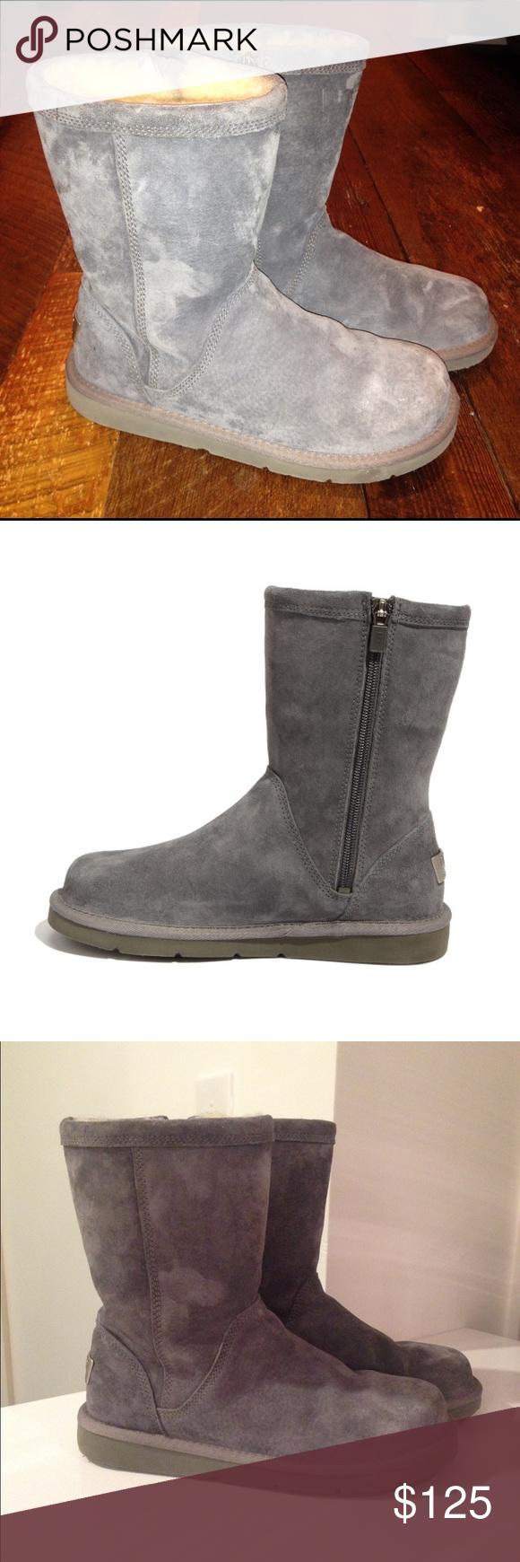 UGG Roslynn Gray Boot Side Zipper Size