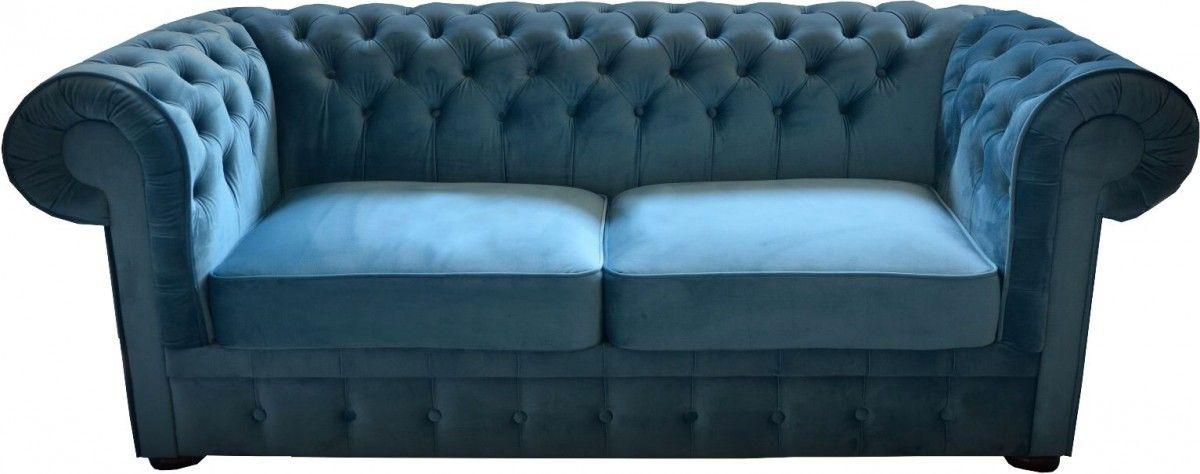Casa Padrino Chesterfield 2er Sofa in Blau 160 x 90 x H. 78 cm ...