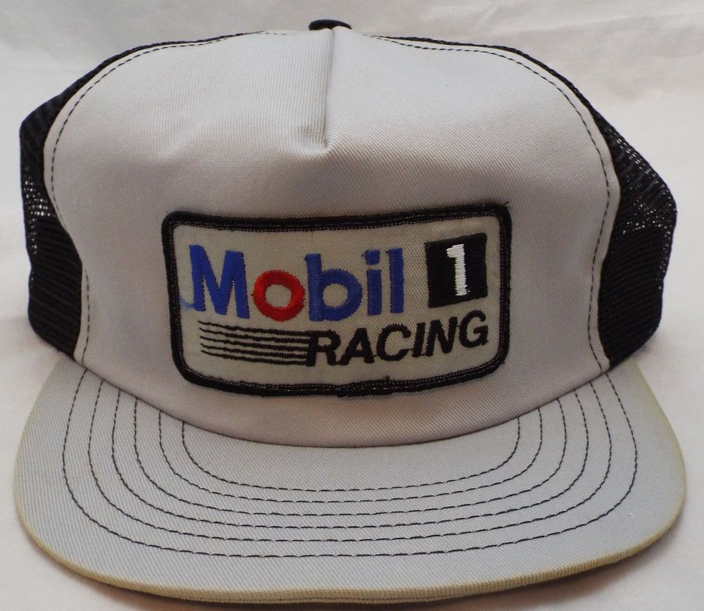 8fad4884dd0 new 1980 s vintage Mobil 1 racing Trucker mesh USA snapback hat baseball cap