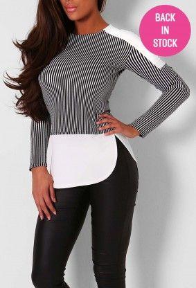 Aysha Black and White Stripe Long Sleeve Top
