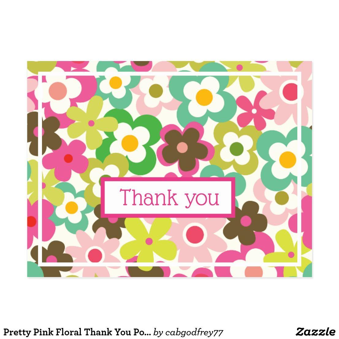 Pretty Pink Floral Thank You Postcard