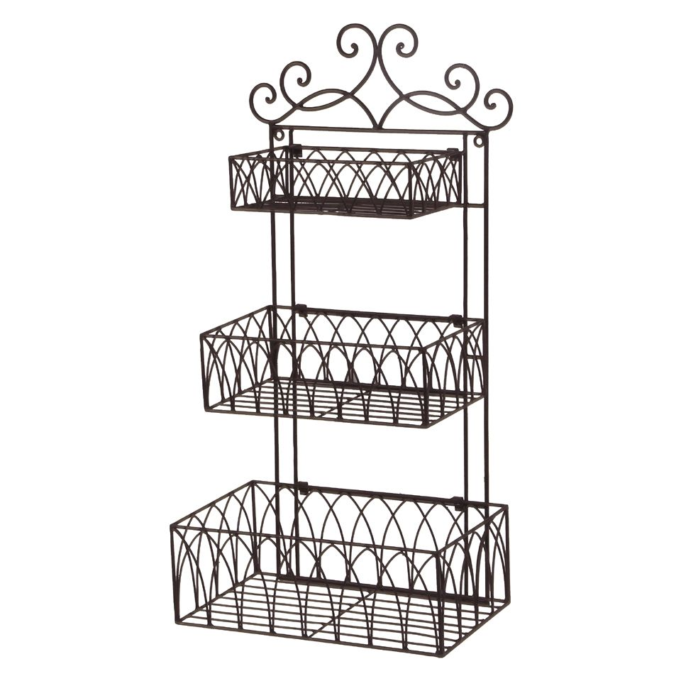 Tuscan Wrought Iron Metal 3 Tier Wall Shelf or Wall Planter ...