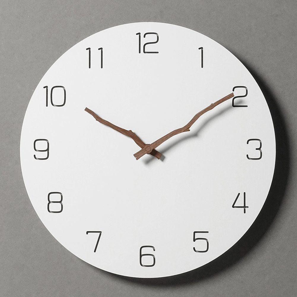 Amazon Com Simple Modern White Round Wooden Wall Clock 11 Inch Non Ticking One Aa Battery Powered Time Bars Home Ki Wall Clock Clock Modern Cuckoo Clocks