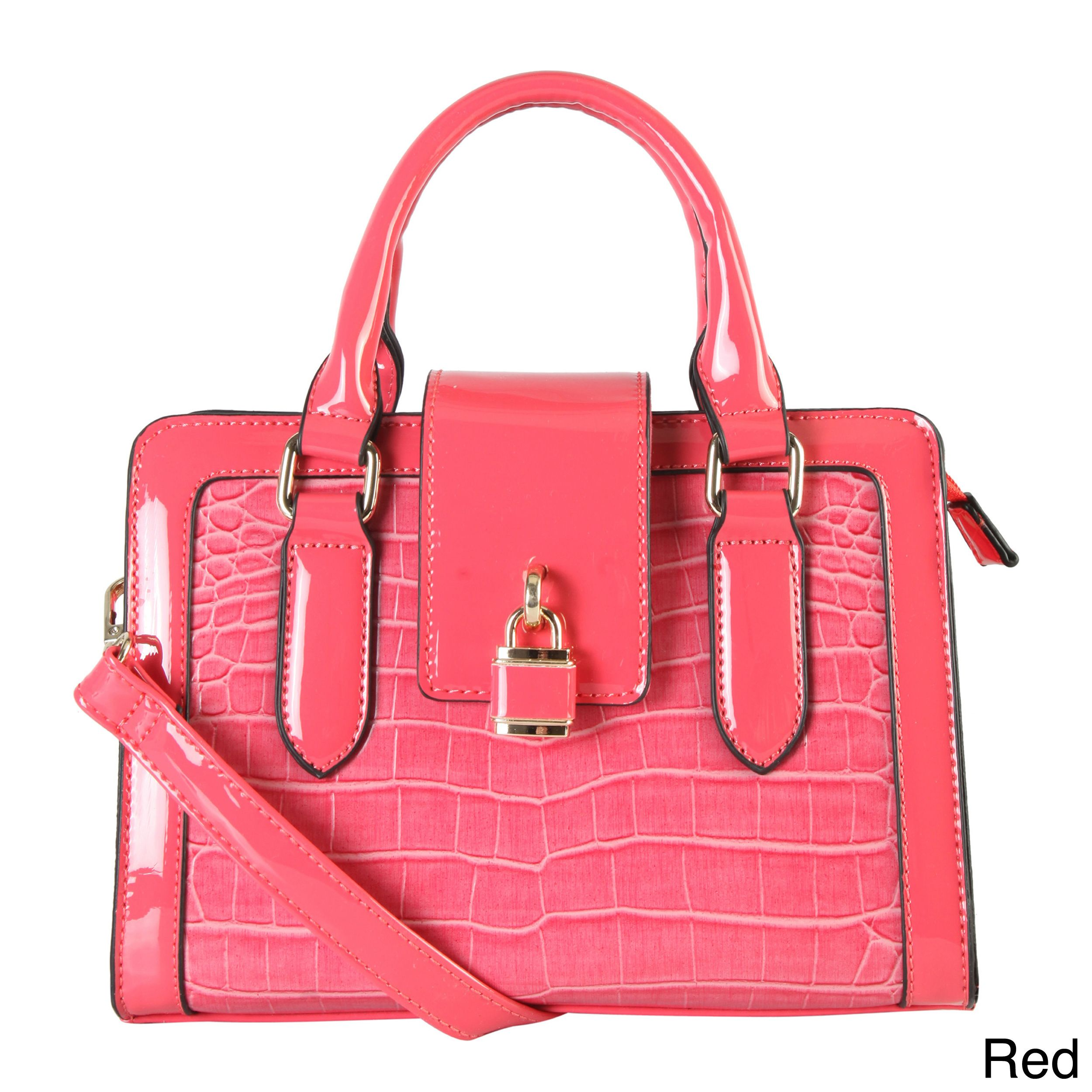 Diophy Stamped Shiny Faux Front Lock Decor Top Handle Handbag, Women's