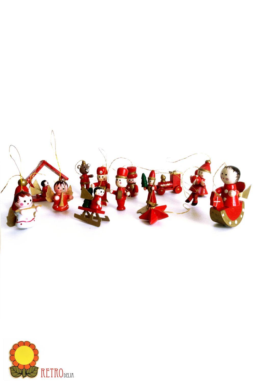 Vintage Christmas Tree Ornaments Hanging Wood Decorations Etsy Vintage Christmas Wooden Christmas Ornaments Vintage Christmas Tree