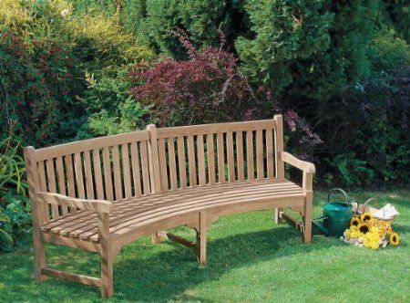 Lansbury Curved Garden Bench Sustainable Teak Curved Bench