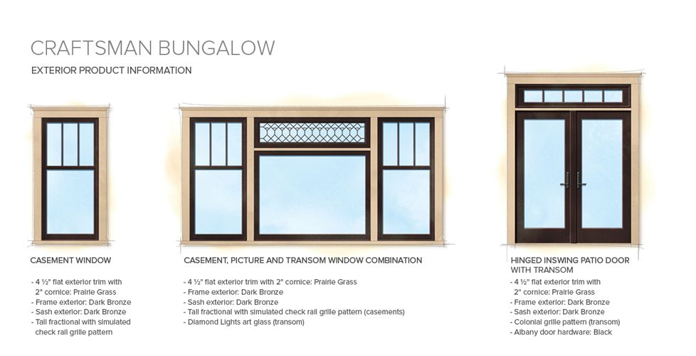 Craftsman bungalow home style exterior window door details for Window styles for homes