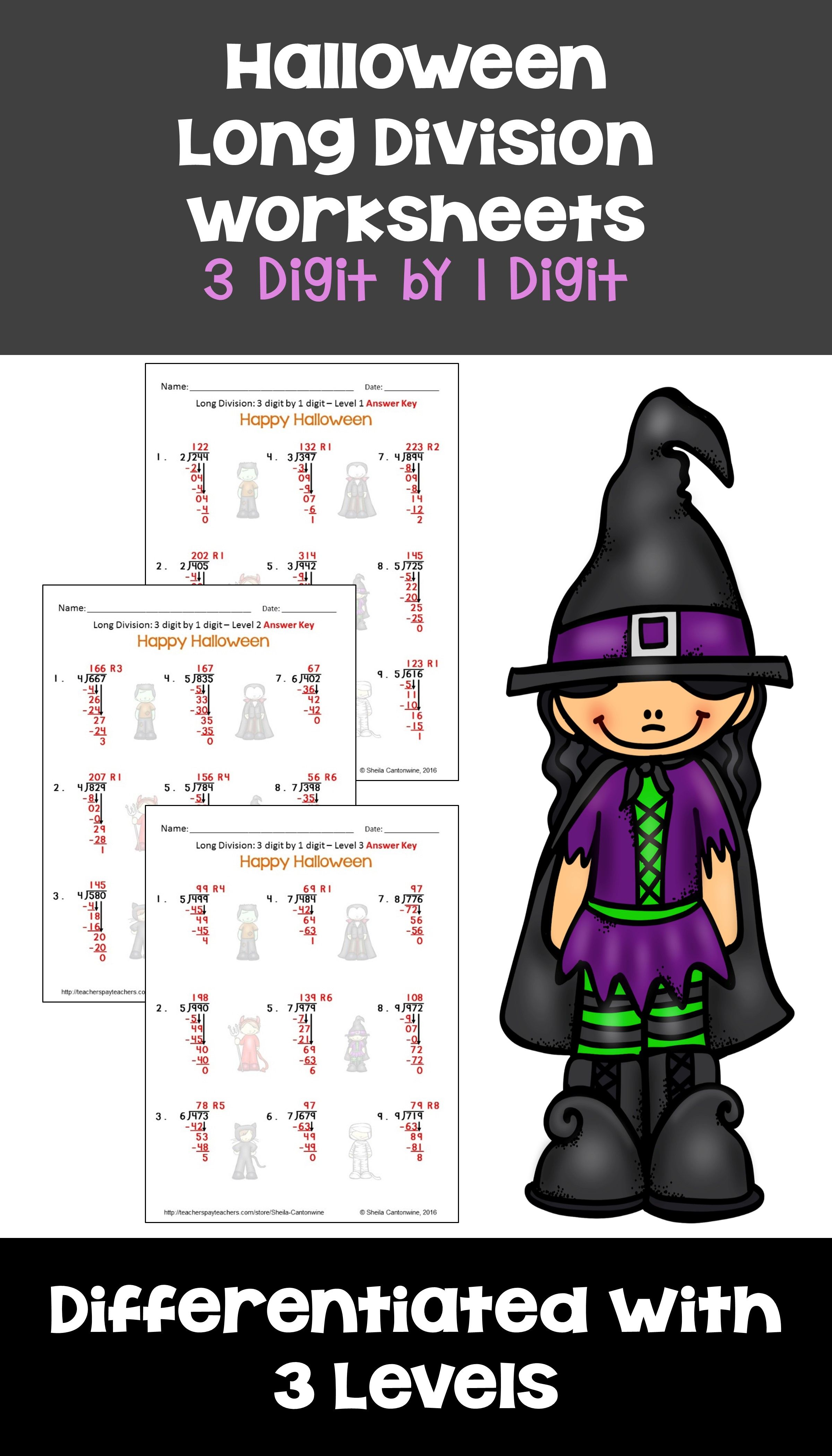 Halloween Math Long Division Worksheets - 3 digit by 1 digit ...