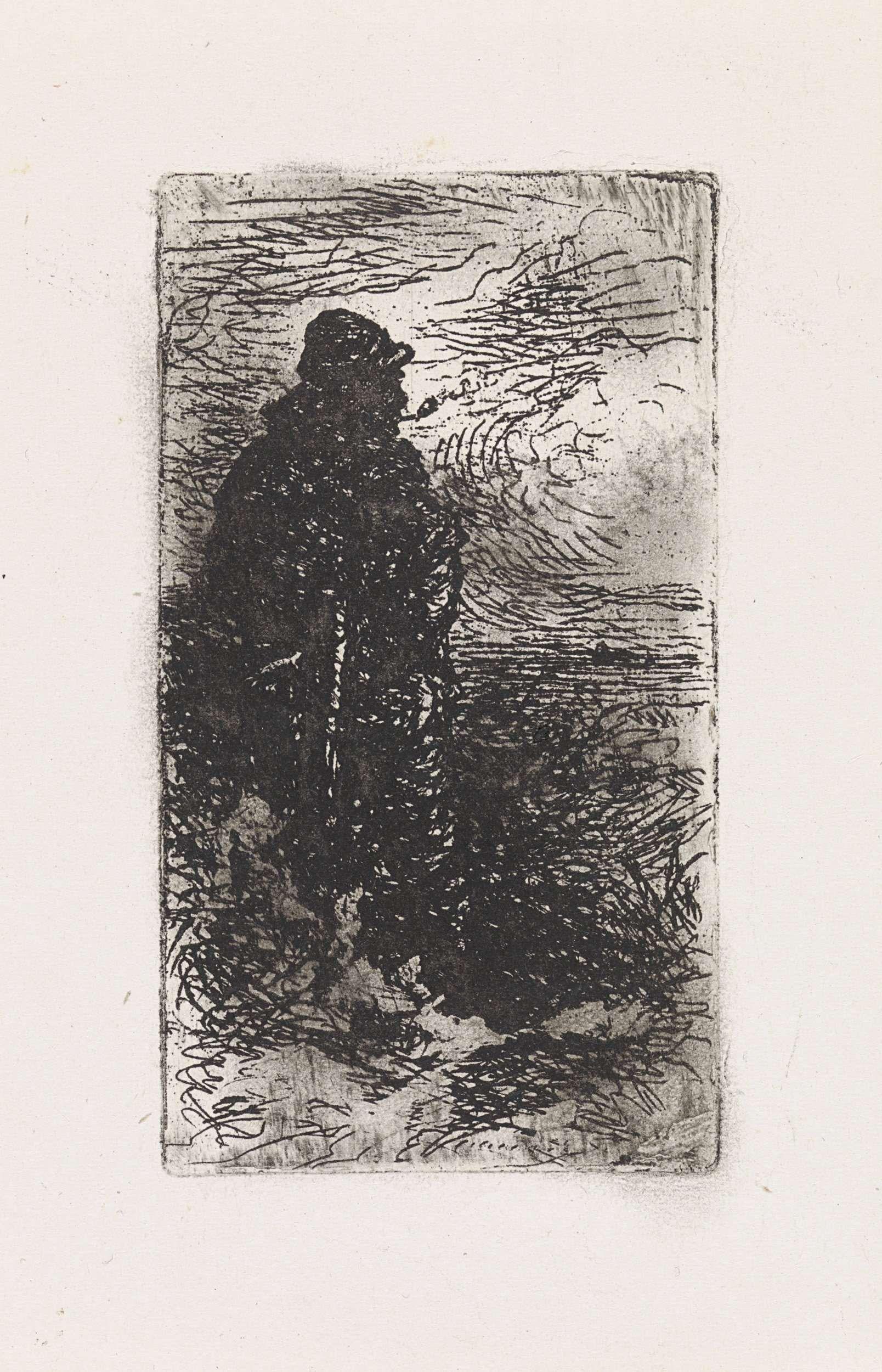 Elchanon Verveer   Staande visser met pijp, Elchanon Verveer, 1836 - 1900   Een staande visser met pijp bij een kust.