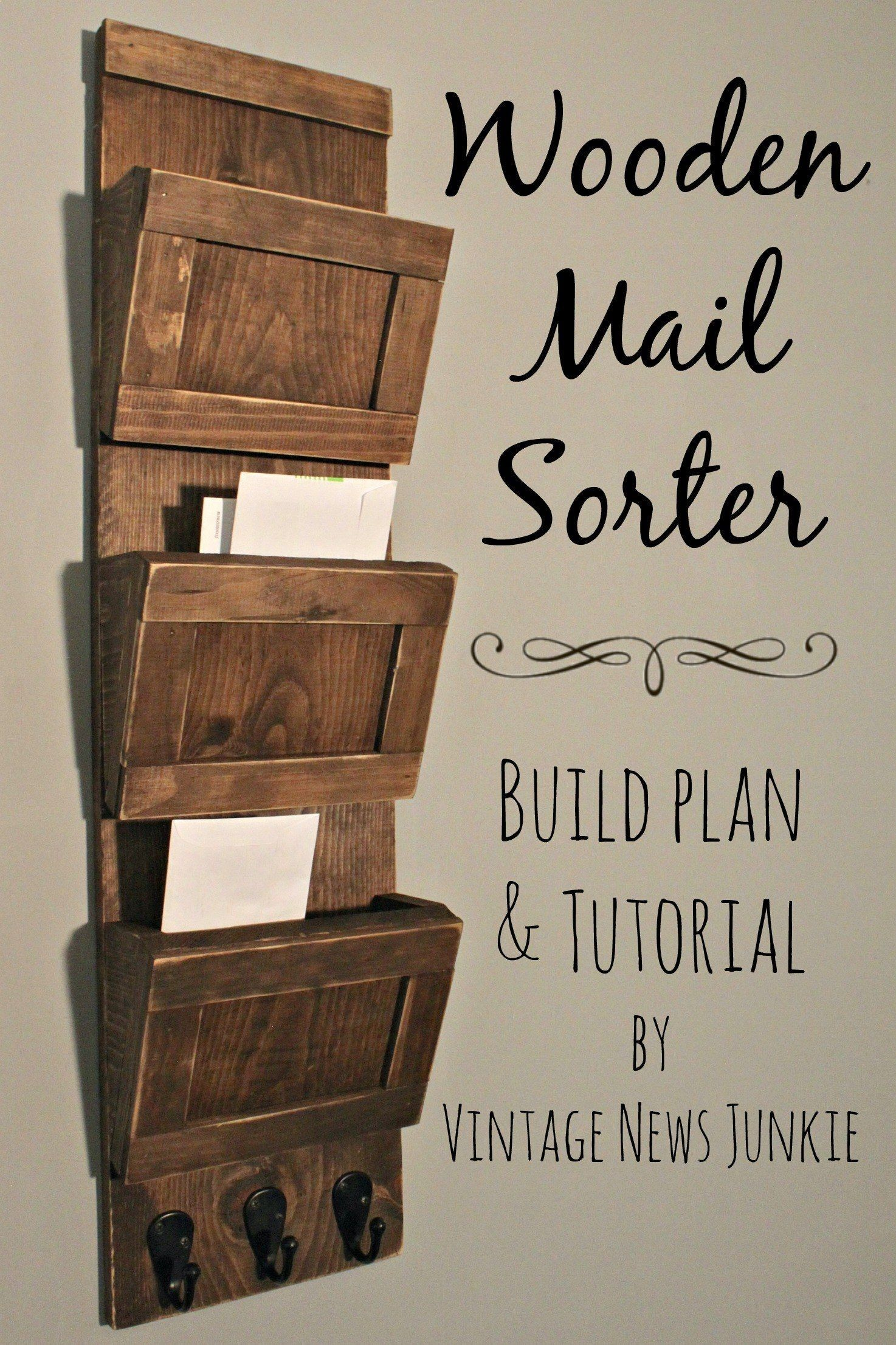 Plans Of Woodworking Diy Projects  Wooden Mail Sorter -