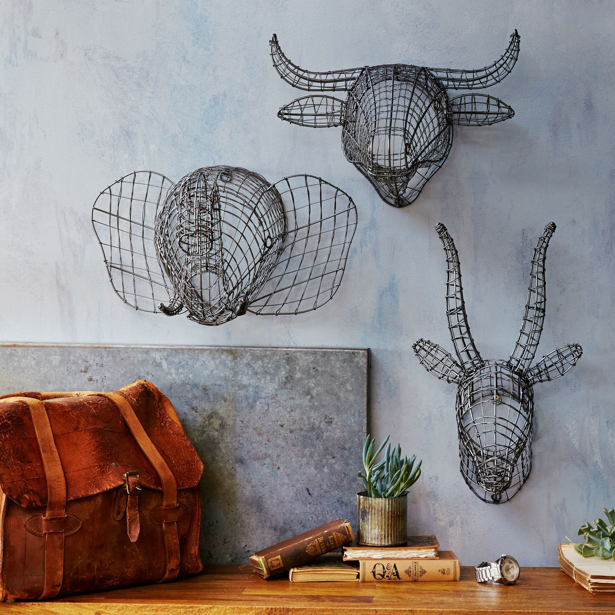 Our Handmade Wire Animal Busts Feature Intricate Wire Construction With