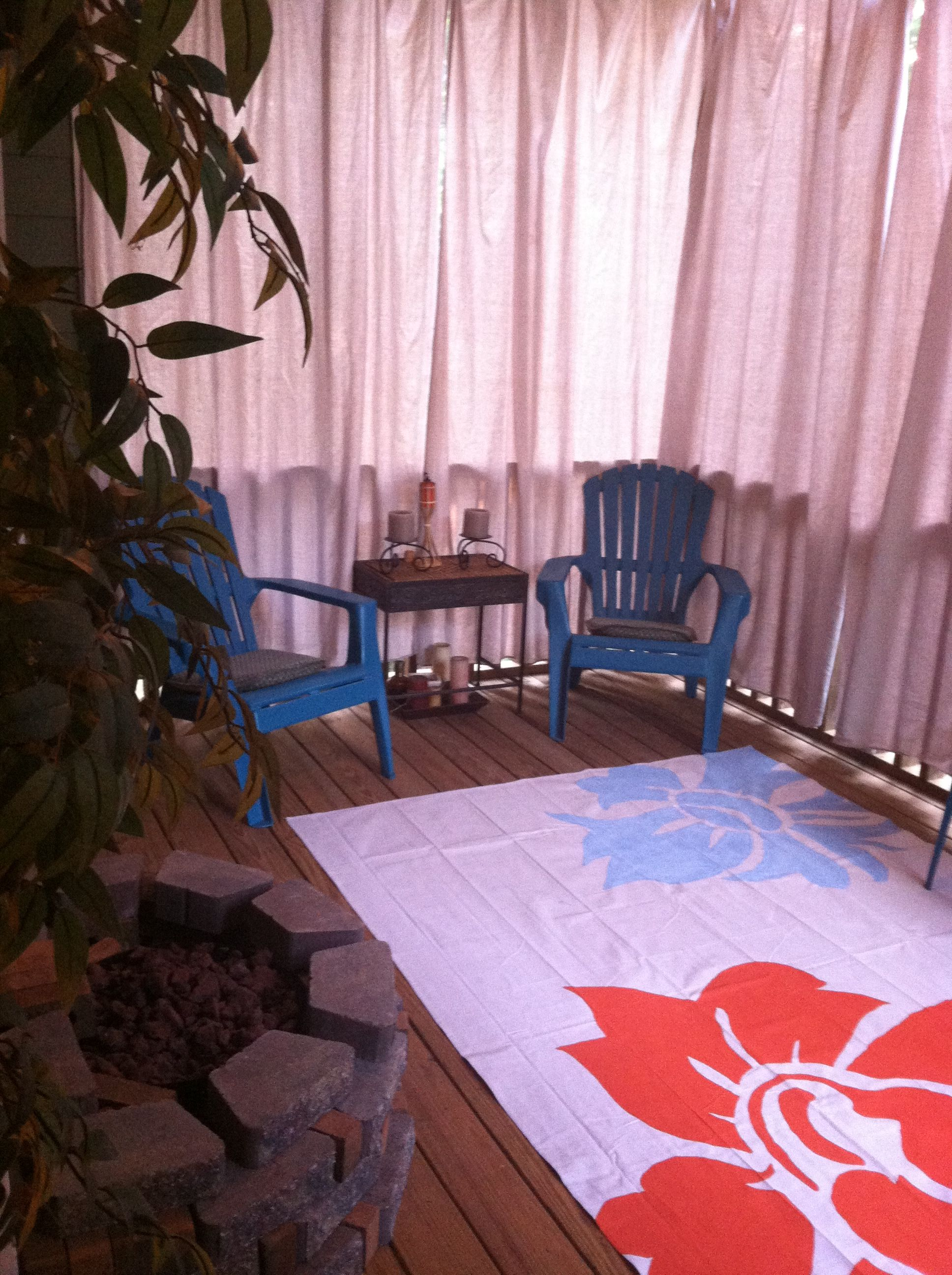 Screened porch- Drop cloth curtains and drop cloth hand ...