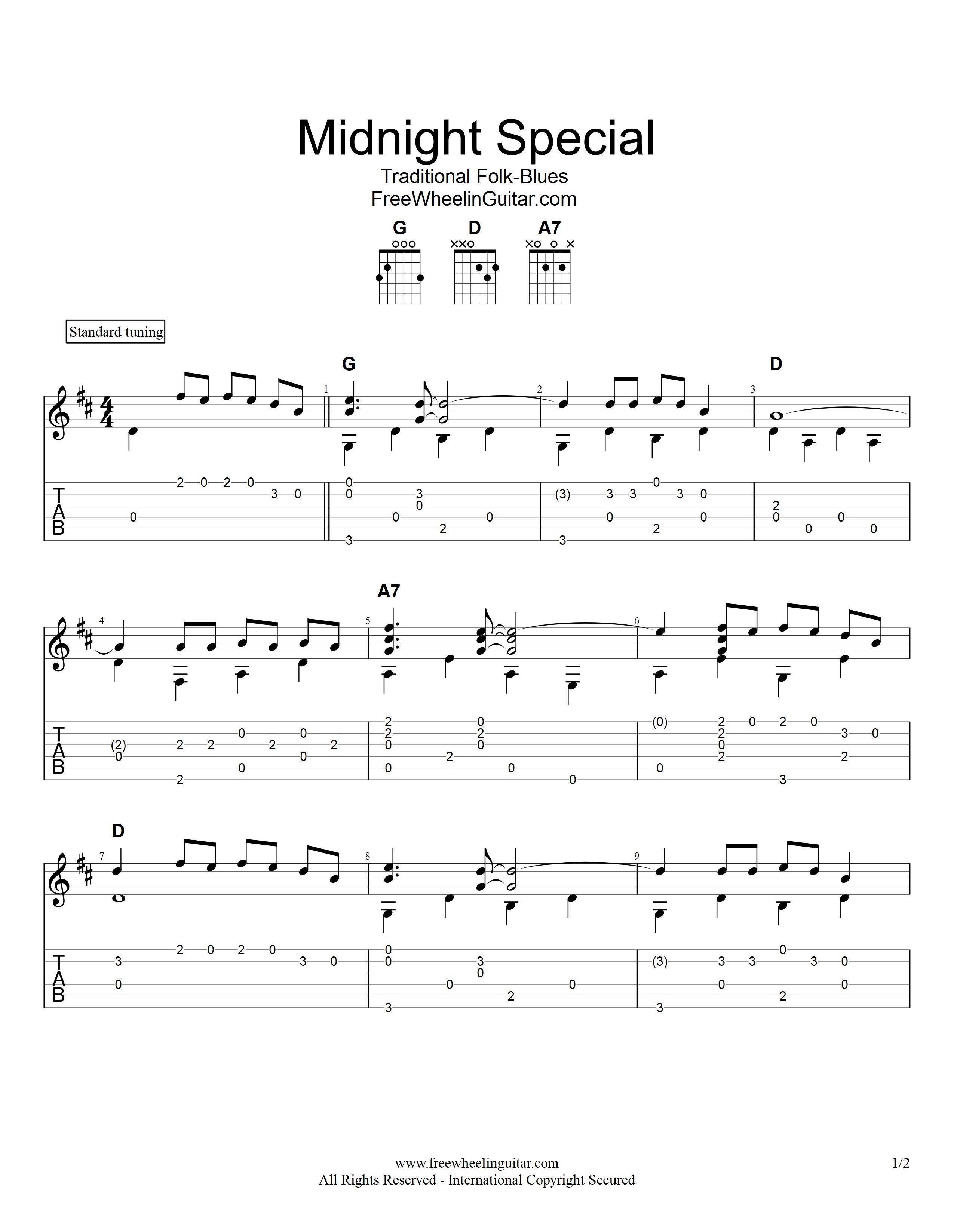 Midnight Special   Fingerstyle Guitar Tab   FreeWheelinGuitar.com ...