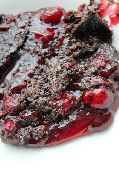 Crock Pot Chocolate Cherry Dump Cake cooked 2