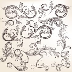 Collection of vector  hand drawn swirl ornaments in vintage styl vector art illustration