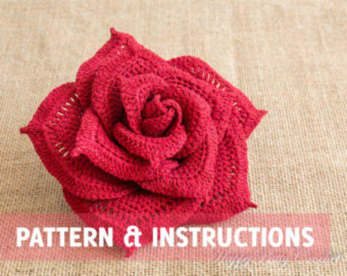 Crochet Rose Pattern Crochet Flower Pattern Crochet Pattern