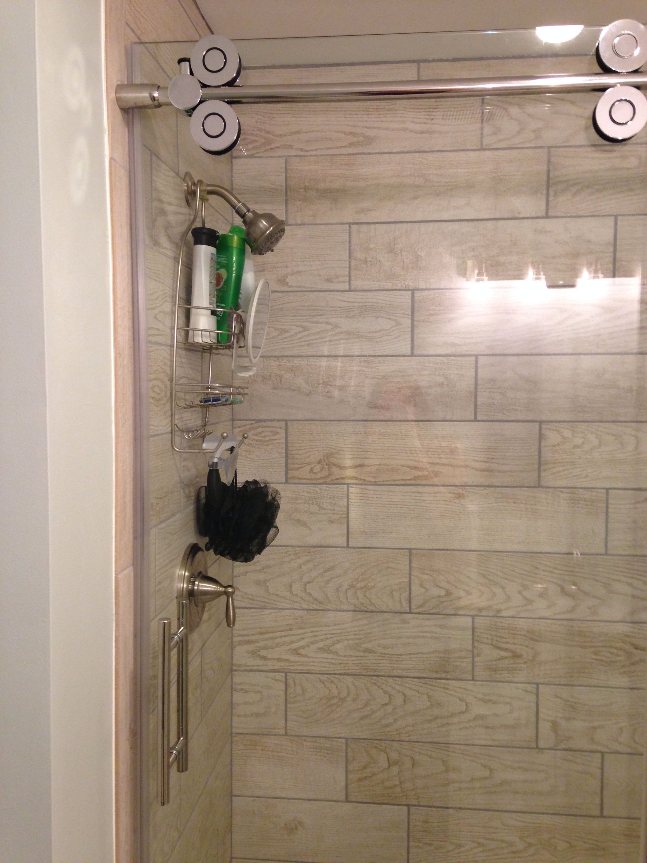 Wood tile in shower stall _ marazzi Home Depot, glass door is Allen ...