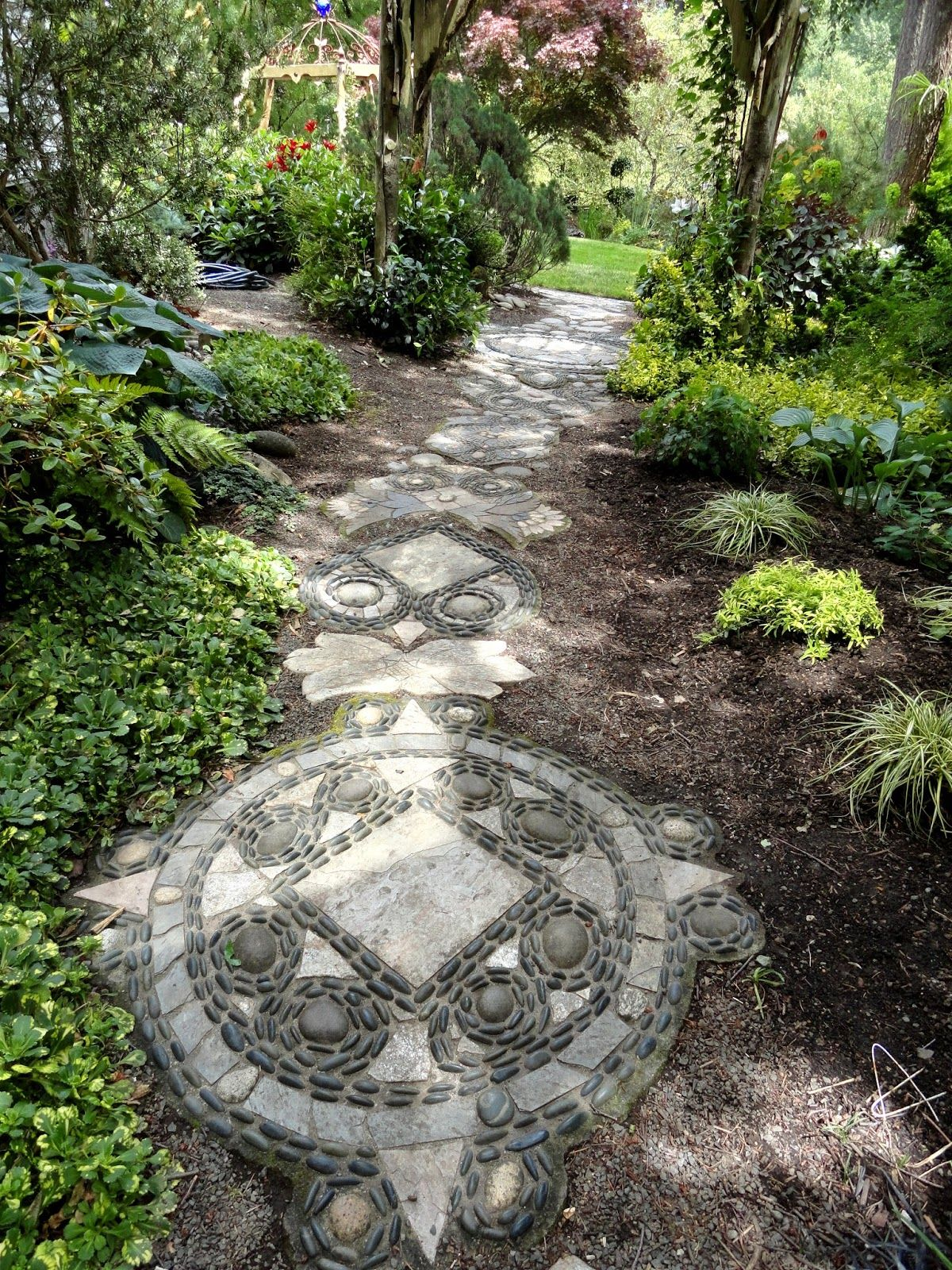 Pebble Mosaic Path, A Compass Rose And