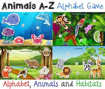 Animals & Habitat Alphabet Matching Game AZ Animal