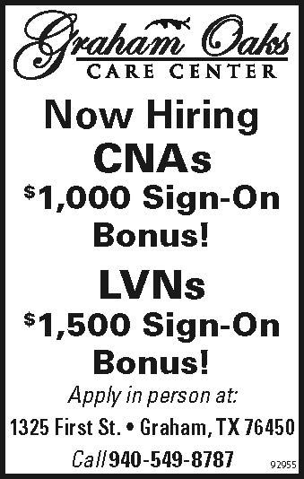 Now Hiring CNAs $1,000 Sign-On Bonus! LVNs $1,500 Sign-On