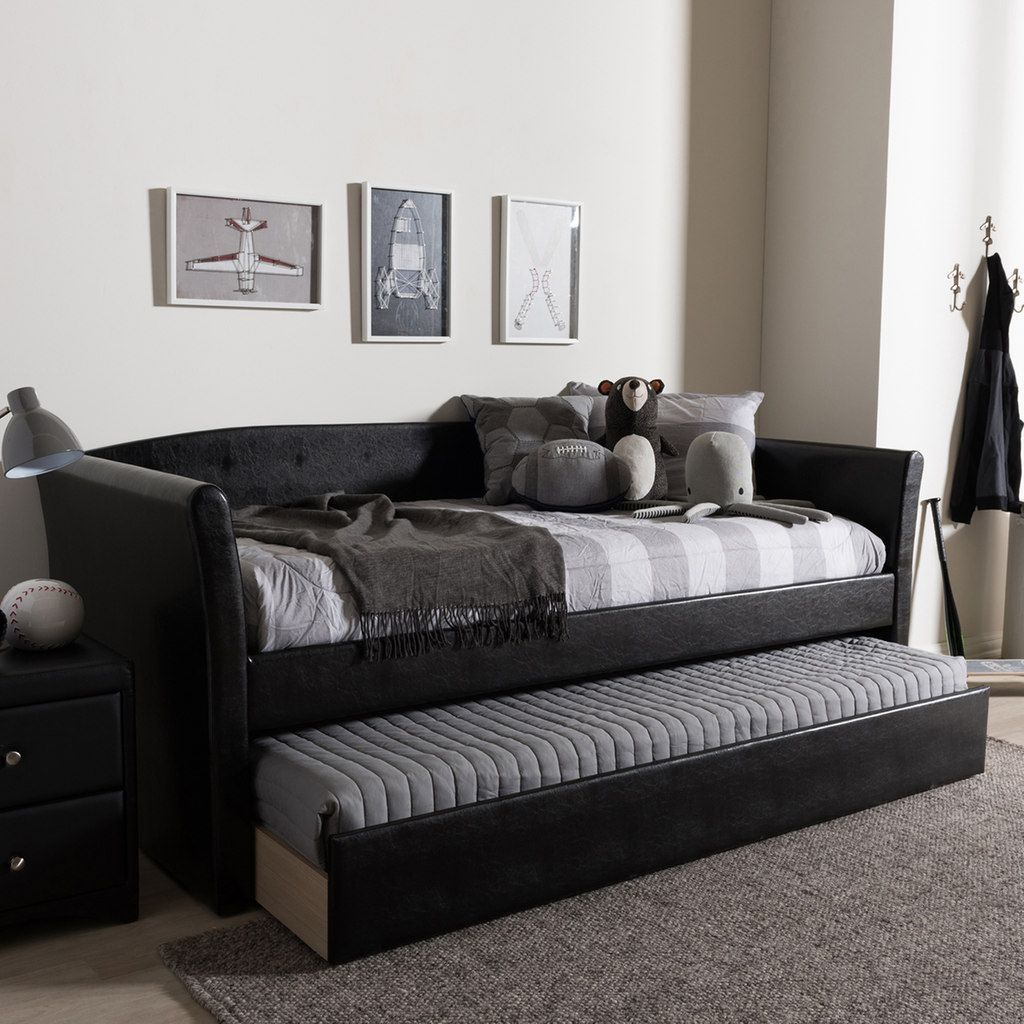 - Baxton Studio Camino Contemporary Daybed & Trundle, Black Daybed