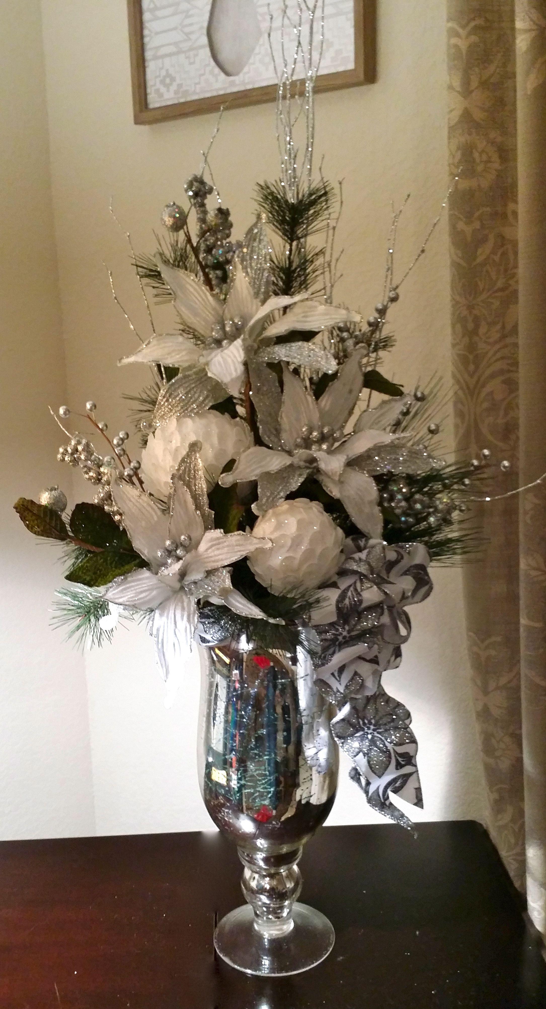 Christmas Floral, Silver & White Floral, White Poinsettias