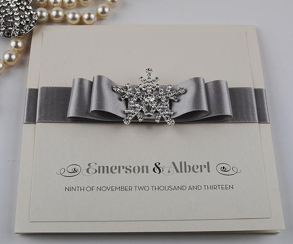 Upscale Wedding Invitations | Luxury Crystal Snowflake Handmade Wedding Invitations - Snow Queen