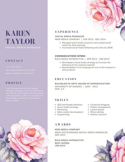 lavender and white rose watercolor creative resume