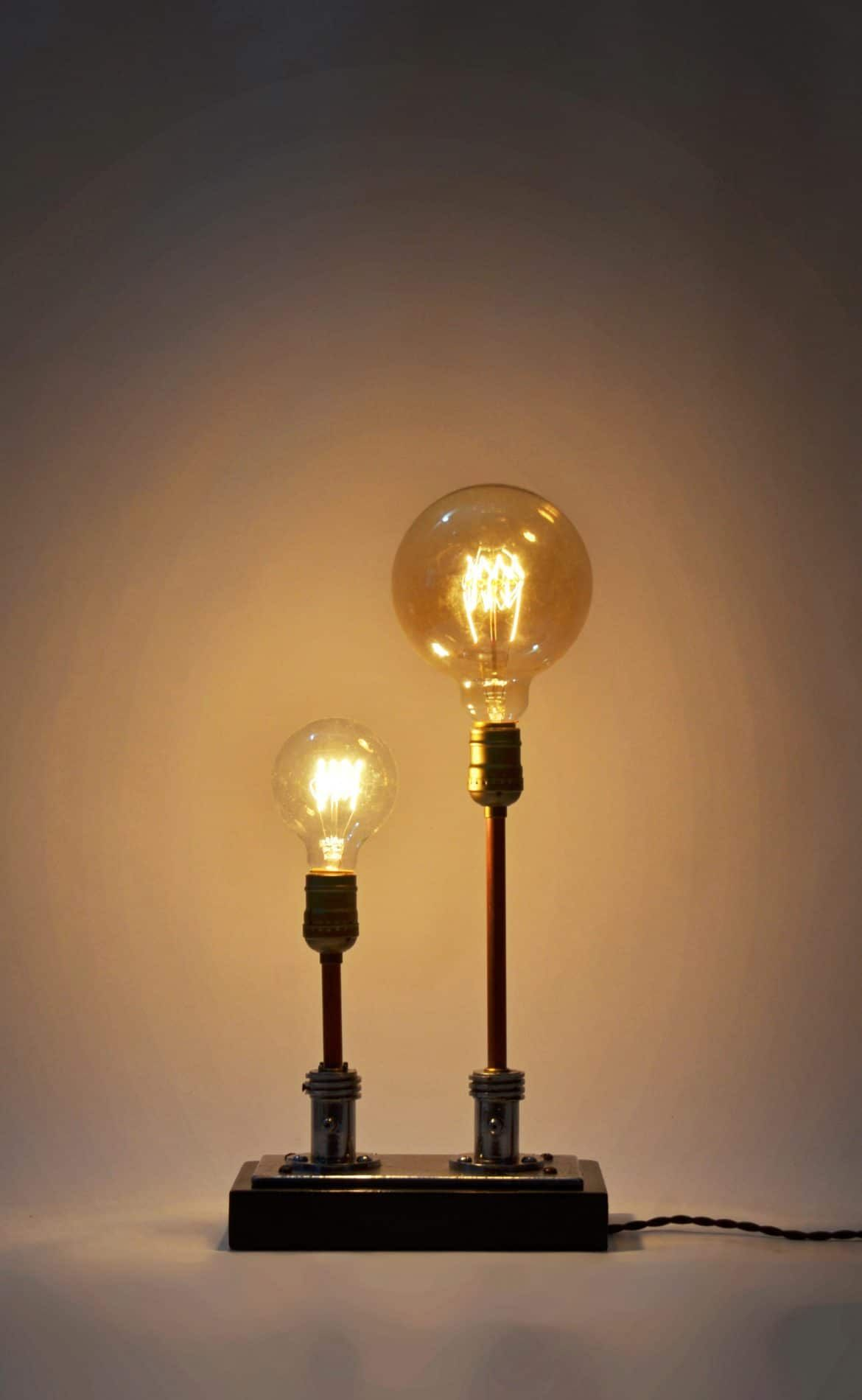 Steampunk Table Lamp Made From Vintage Medical Plugs  Table
