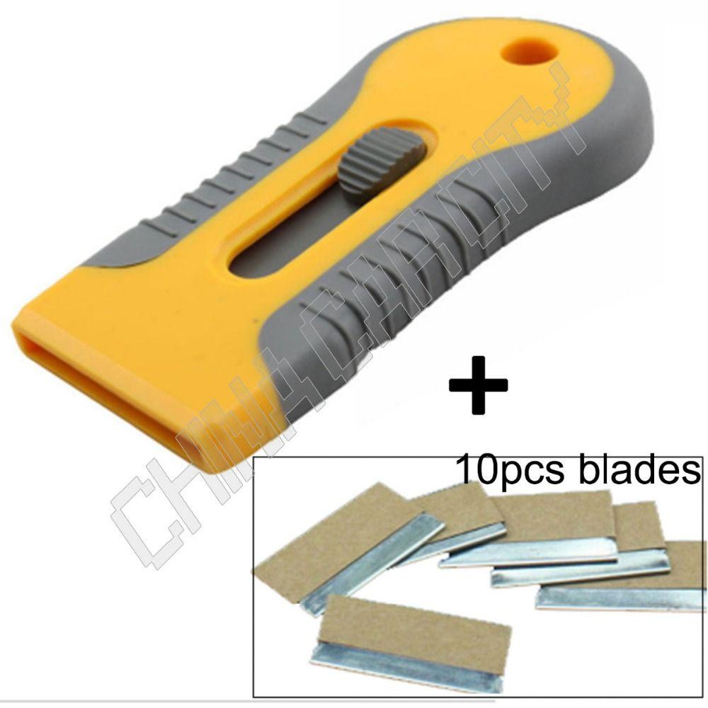Plastic Car Sticker Remover Edge Blade Razor Scraper Set Window Spatula Tools //G