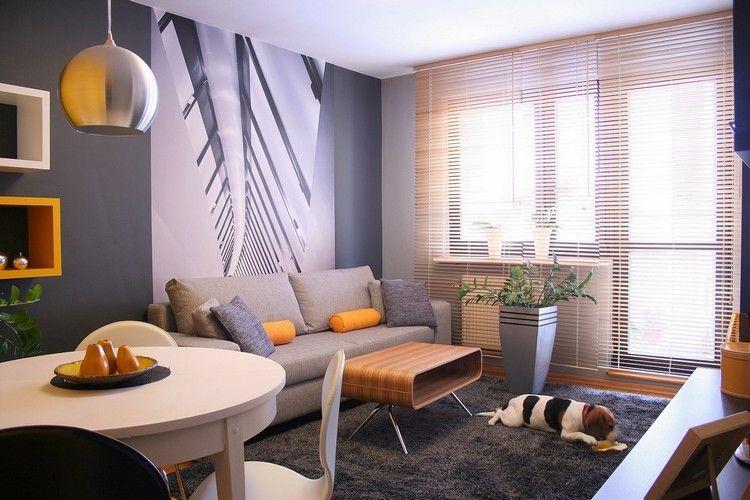 wohnungseinrichtung-ideen-wohnzimmer-fototapete-2er-sofa - sofa kleines wohnzimmer